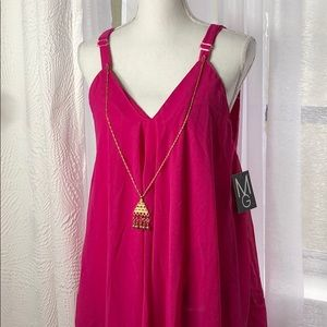 NWT Hot Pink Maxi Dress with Removable Necklace